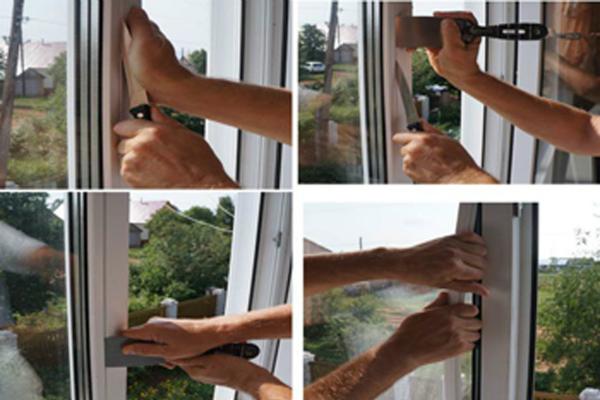 Мастер делает замер стеклопакета, чтобы позже произвести ремонт.